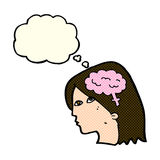 Cartoon female head with brain symbol with thought bubble Royalty Free Stock Photo