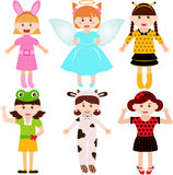 Cartoon female kids in costumes Royalty Free Stock Images