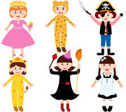 Cartoon female kids in costumes Royalty Free Stock Image
