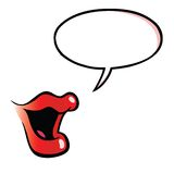 Cartoon female mouth with speech bubble. Cartoon female mouth with a speech bubble above it Royalty Free Stock Image