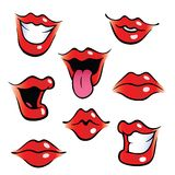 Cartoon female mouths with glossy lips. Collection of female mouths with glossy lips vector illustration