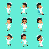 Cartoon female nurse character poses Royalty Free Stock Image