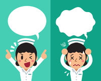 Cartoon female nurse expressing different emotions with speech bubbles. For design Royalty Free Stock Photography