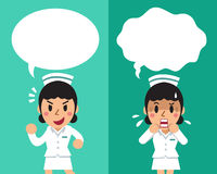Cartoon female nurse expressing different emotions with speech bubbles. For design Stock Images