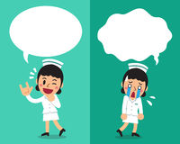 Cartoon female nurse expressing different emotions with speech bubbles. For design Stock Photos