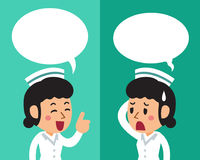 Cartoon a female nurse expressing different emotions with speech bubbles. For design Royalty Free Stock Image