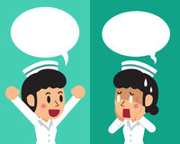 Cartoon female nurse expressing different emotions with speech bubbles. For design Royalty Free Stock Images