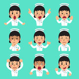 Cartoon female nurse faces showing different emotions. For design Royalty Free Stock Photo
