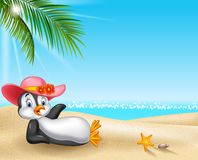 Cartoon female penguin relaxing on the beach royalty free illustration