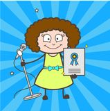 Cartoon Female Pop-Singer Showing Award Certificate Vector Royalty Free Stock Images