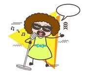 Cartoon Female Pop-Singer with Speech Bubble Vector Concept Stock Photos