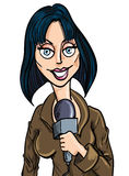 Cartoon female reporter with microphone Stock Photo