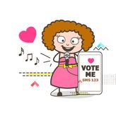 Cartoon Female Rock-Star Singer Asking for Votes Vector Concept Stock Photo