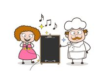 Cartoon Female Singer with Chef Presenting Information Banner Vector Royalty Free Stock Images