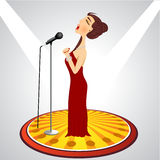 Cartoon female singer with microphone Stock Image