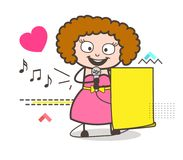 Cartoon Female Singer Showing Paper Banner Vector Royalty Free Stock Images