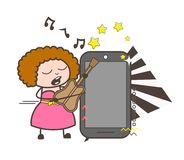 Cartoon Female Singer with Smartphone Gadget Vector Illustration Royalty Free Stock Image