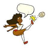 Cartoon female soccer player kicking ball with speech bubble Royalty Free Stock Photo