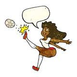 Cartoon female soccer player kicking ball with speech bubble Royalty Free Stock Photos