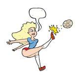 Cartoon female soccer player kicking ball with speech bubble Stock Photo