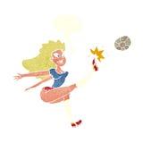 Cartoon female soccer player kicking ball with speech bubble Stock Photos