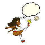 Cartoon female soccer player kicking ball with thought bubble Royalty Free Stock Photo