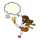 Cartoon female soccer player kicking ball with thought bubble Royalty Free Stock Images