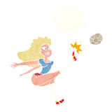 Cartoon female soccer player kicking ball with thought bubble Royalty Free Stock Photos