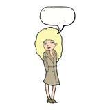 Cartoon female spy with speech bubble Royalty Free Stock Photography