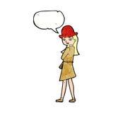 Cartoon female spy with speech bubble Stock Photo