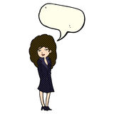Cartoon female spy with speech bubble Royalty Free Stock Photography