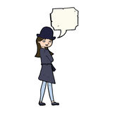 Cartoon female spy with speech bubble Stock Photography