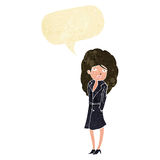 Cartoon female spy with speech bubble Royalty Free Stock Images