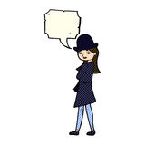 Cartoon female spy with speech bubble Stock Photo