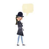 Cartoon female spy with speech bubble Stock Photos