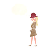 Cartoon female spy with thought bubble Royalty Free Stock Images
