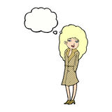 Cartoon female spy with thought bubble Royalty Free Stock Photos
