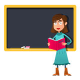 Cartoon Female teacher with book in hand stands at the blackboard Stock Photography