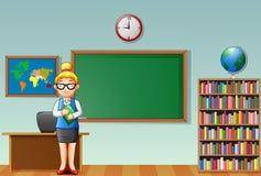 Cartoon female teacher standing in a classroom Stock Image