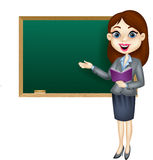 Cartoon female teacher standing next to a blackboard Stock Image