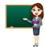 Cartoon female teacher standing next to a blackboard Stock Image