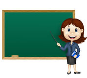 Cartoon female teacher standing next to a blackboard Royalty Free Stock Images