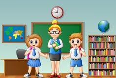 Cartoon female teacher and students in school uniform at classroom Stock Photos