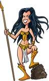 Cartoon female warrior. With a spear. Isolated Royalty Free Stock Photos