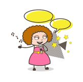 Cartoon Female Western Singer with Speech Bubble Vector Royalty Free Stock Image