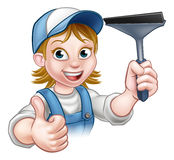 Cartoon Female Window Cleaner Character Stock Photos