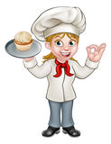 Cartoon Female Woman Baker or Pastry Chef Stock Photo