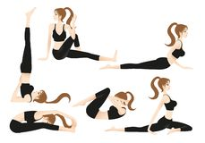 Cartoon Female Yoga Trainer Allows you to play yoga on your own royalty free illustration