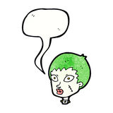 cartoon female zombie head with speech bubble Stock Images