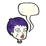 Cartoon female zombie head with speech bubble Royalty Free Stock Images